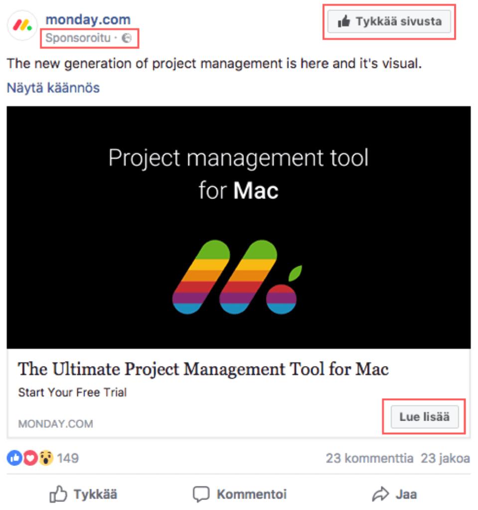 Opas Facebook-mainontaan esimerkkimainos