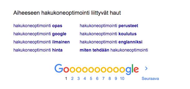 Google hakukoneoptimointi perusteet serp