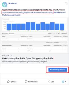 Sisältömarkkinointi: Facebook-statuksen boostaus